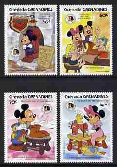 Grenada - Grenadines 1985 Birth Bicentenaries of Grimm Brothers set of 4 with Disney characters illustrating scenes from The Elves and the Shoemaker unmounted mint, SG 72...