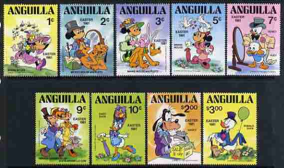 Anguilla 1981 Easter complete set of 9 showing Disney characters wearing Easter bonnets unmounted mint, SG 454-62