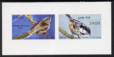 Abkhazia 1995 Birds (Tits) imperf souvenir sheet containing 2 values unmounted mint, stamps on birds