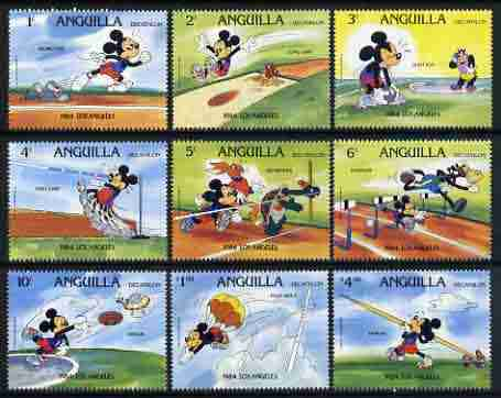 Anguilla 1984 Los Angeles Olympics set of 9 with Disney characters showing Decathlon disciplines (Running, Shot, Long Jump, High Jump, Hurdles, Discus, Pole Vault, Javeli...