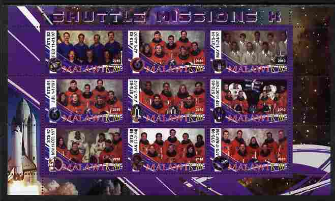 Malawi 2010 Space Shuttle Missions #10 perf sheetlet containing 9 values unmounted mint