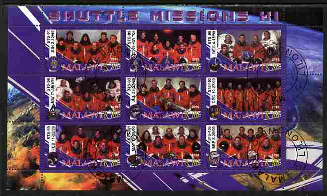 Malawi 2010 Space Shuttle Missions #11 perf sheetlet containing 9 values fine cto used