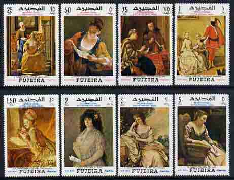 Fujeira 1968 International Letter Writing Week set of 8 paintings depicting reading and writing of letters unmounted mint, Mi 276-83
