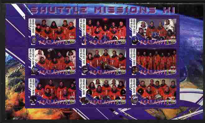 Malawi 2010 Space Shuttle Missions #11 perf sheetlet containing 9 values unmounted mint