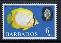 Barbados 1966-69 Spot-finned Butterflyfish 6c (wmk sideways) unmounted mint, SG 347