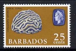 Barbados 1966-69 Brain Coral 25c (wmk sideways) unmounted mint, SG 351