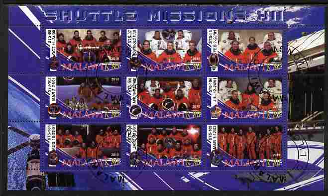 Malawi 2010 Space Shuttle Missions #12 perf sheetlet containing 9 values fine cto used