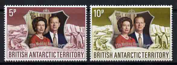 British Antarctic Territory 1972 Royal Silver Wedding set of 2 unmounted mint, SG 42-43