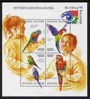 Bulgaria 1999 Stamp Exhibition sheetlet of 4 featuring children with parrots and budgerigars, unmounted mint