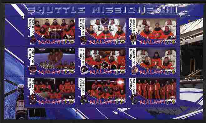Malawi 2010 Space Shuttle Missions #12 perf sheetlet containing 9 values unmounted mint