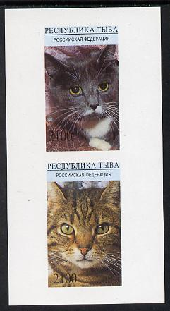 Touva 1995 (April) Domestic Cats imperf souvenir sheet containing 2 values unmounted mint