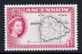 Ascension 1956 Map 1d black and magenta unmounted mint, SG 58*