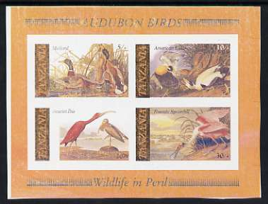 Tanzania 1986 John Audubon unmounted mint imperf colour proof of m/sheet printed in all colours but several being very 'dry' (SG MS 468)
