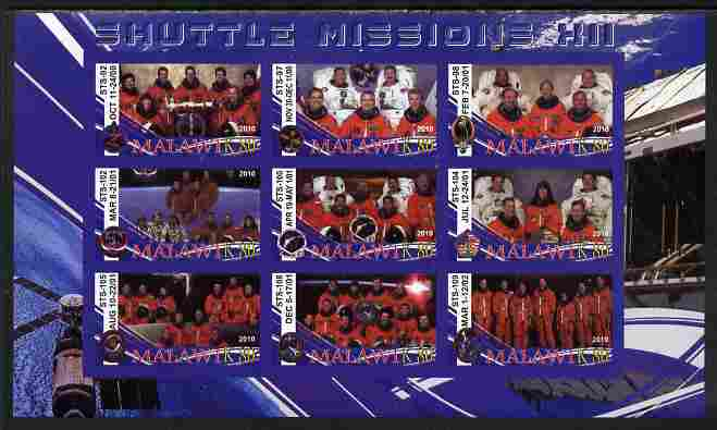 Malawi 2010 Space Shuttle Missions #12 imperf sheetlet containing 9 values unmounted mint
