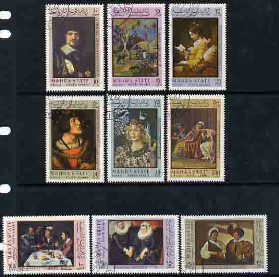 Aden - Mahra 1967 Paintings perf set of 9 fine cto used, Mi 48-56