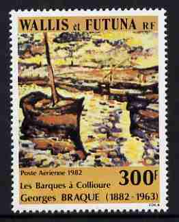 Wallis & Futuna 1982 Air 300f Death Centenary of Georges Braque (painter) featuring fishing boats unmounted mint, SG 391