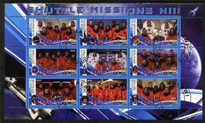 Malawi 2010 Space Shuttle Missions #13 perf sheetlet containing 9 values fine cto used