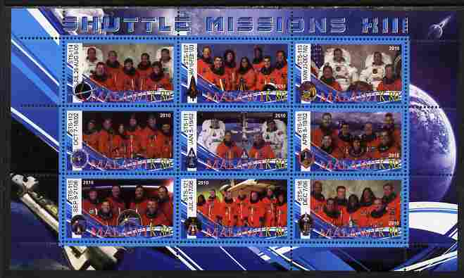 Malawi 2010 Space Shuttle Missions #13 perf sheetlet containing 9 values unmounted mint