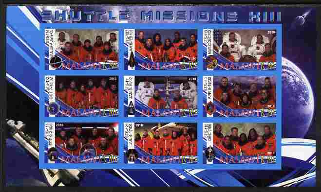 Malawi 2010 Space Shuttle Missions #13 imperf sheetlet containing 9 values unmounted mint, stamps on , stamps on  stamps on space, stamps on  stamps on shuttle
