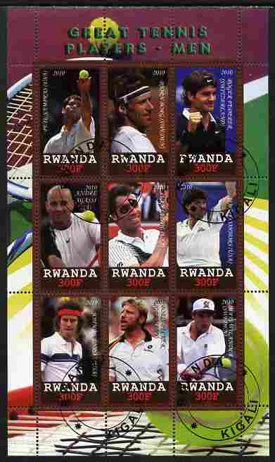 Rwanda 2010 Great Tennis Players - Men perf sheetlet containing 9 values fine cto used