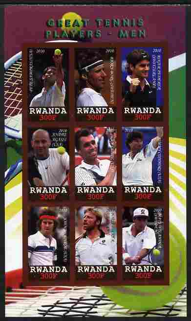 Rwanda 2010 Great Tennis Players - Men imperf sheetlet containing 9 values unmounted mint