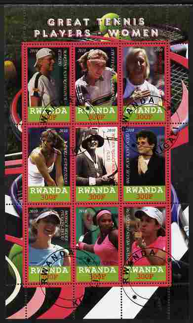Rwanda 2010 Great Tennis Players - Women perf sheetlet containing 9 values fine cto used