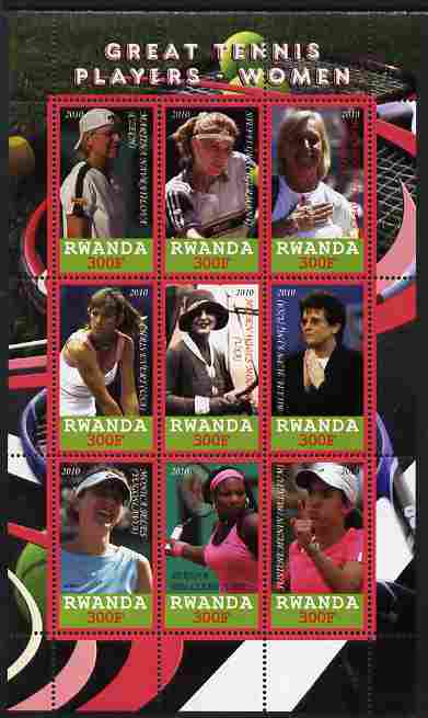 Rwanda 2010 Great Tennis Players - Women perf sheetlet containing 9 values unmounted mint