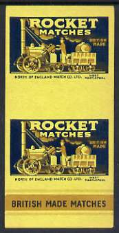 Match Box Labels - North of England Match Co Ltd, West Hartelpool 'All Round the Box' matchbox label for Rocket Matches showing 'Rocket' locomotive and tender.