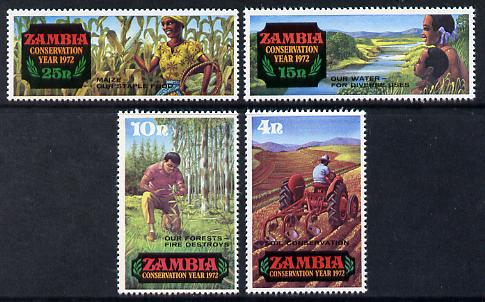 Zambia 1972 Conservation Year (2nd issue) set of 4, SG 172-75 unmounted mint