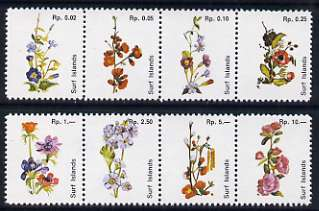 Surf Island Flowers perf set of 8 (white background) in two se-tenant strips of 4, unmounted mint
