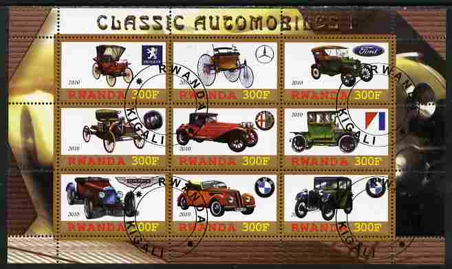 Rwanda 2010 Classic Cars #1 perf sheetlet containing 9 values fine cto used