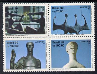 Brazil 1990 Lubrapex Stamp Exhibition (Sculptures) se-tenant set of 4 SG 2445-48