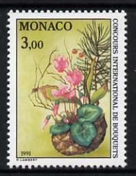 Monaco 1991 Monte Carlo Flower Show 3f unmounted mint, SG 2036, stamps on flowers