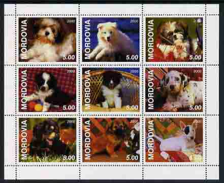 Mordovia Republic 2000 Dogs perf sheetlet containing complete set of 9 values unmounted mint