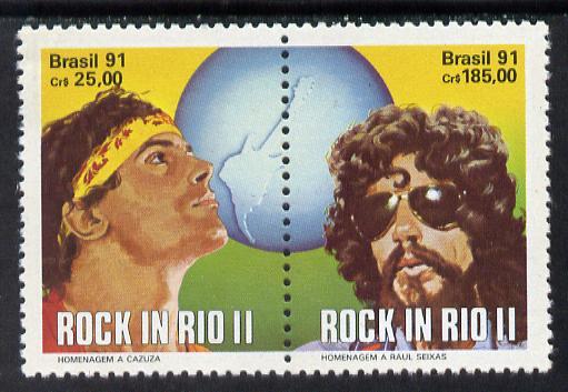 Brazil 1991 'Rock in Rio' Concert se-tenant horiz pair unmounted mint SG 2463-64