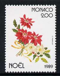 Monaco 1989 Poinsettia, Christmas Rose & Holly 2f unmounted mint, SG 1961