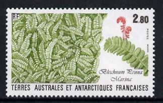 French Southern & Antarctic Territories 1989 Fern 2f 80 from Flora & Fauna set of 4 unmounted mint, SG 246