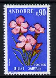 Andorra - French 1973 Wild Pinks 90c from Pyrenean Flowers set of 3 unmounted mint, SG F250