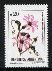Argentine Republic 1985 Mutisia retusa (Virreina) 20a from Flowers def set, unmounted mint SG 1942b