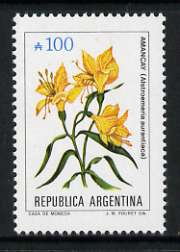 Argentine Republic 1985 Alstroemeria aurantiaca 100a from Flowers def set, unmounted mint SG 1943, stamps on flowers
