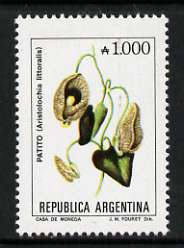 Argentine Republic 1985 Aristolochia littoralis 1000a from Flowers def set, unmounted mint SG 1943c