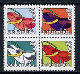 Colombia 1979 Anthurium Flowers se-tenant block of 4 unmounted mint, SG 1477-80