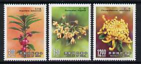 Taiwan 1988 Flowers (3rd series) set of 3 unmounted mint, SG 1809-11