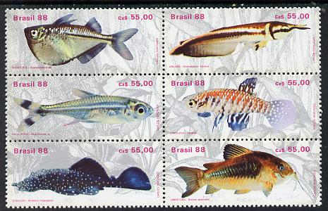 Brazil 1988 Freshwater Fishes se-tenant block of 6 unmounted mint SG 2334-39