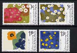 Liechtenstein 1996 Birth Centenary of Ferdinand Gehr (painter) set of 4 flower paintings unmounted mint, SG 1136-39