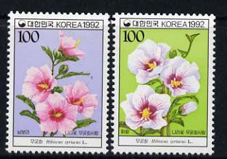 South Korea 1992 Hibiscus syriacus (national flower) set of 2 unmounted mint, SG 1985-86