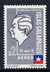 Ecuador - Galapagos 1963 Gabriela Mistral 2s with surch & ECUADOR omitted, insc ISLAS GALAPAGOS unmounted mint, SG 1233b/c