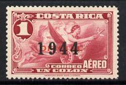 Costa Rica 1944 Allegory of Flight 1c opt'd 1944 unmounted mint, SG 388