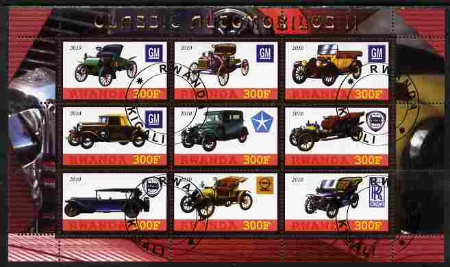 Rwanda 2010 Classic Cars #2 perf sheetlet containing 9 values fine cto used