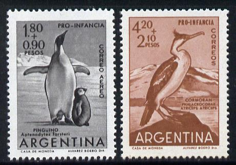 Argentine Republic 1961 Child Welfare (Cormorant & Penguin) set of 2 unmounted mint SG 1005-6*